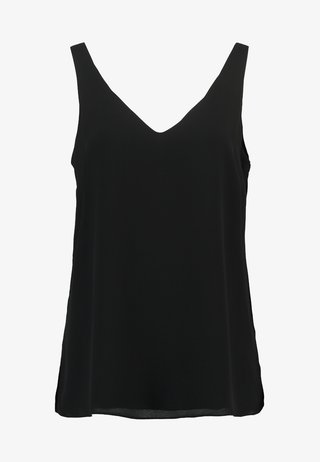 V NECK CAMI - Bluse - black