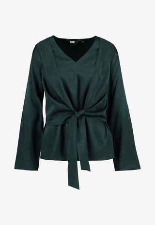 KNOT FRONT LONG SLEEVE - Bluse - green