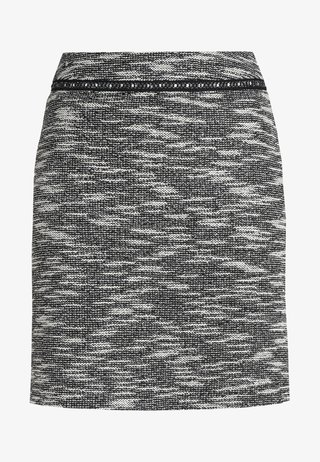 SKIRT STRETCH BOUCLEE - Blyantnederdel / pencil skirts - black/grey