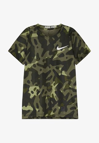 Print T-shirt - medium olive/white