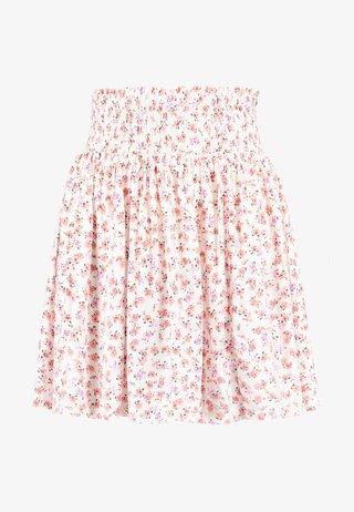 SHIRRED WAIST FLIPPY - Áčková sukně - white