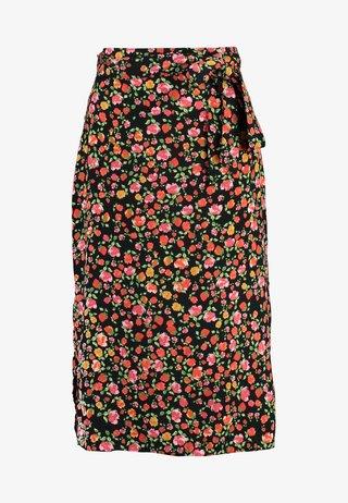 DAISY TIE WAIST MIDI - Pencil skirt - black